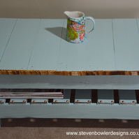 FREE UK SHIPPING Bespoke Country Cottage Duck Egg Blue Rustic Wood Coffee Table