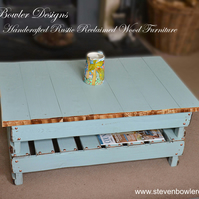 Bespoke Country Cottage Duck Egg Blue Rustic Wood Coffee Table