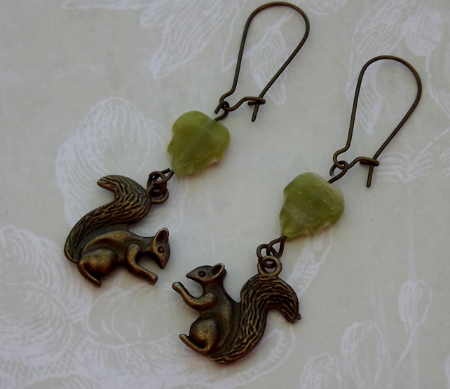 Woodland Squirrel Dangle Earrings