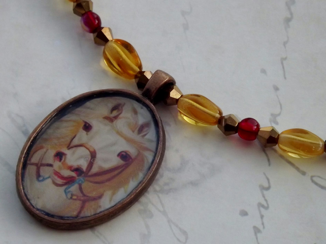 Vintage look Horses Head pendant on Beaded necklace