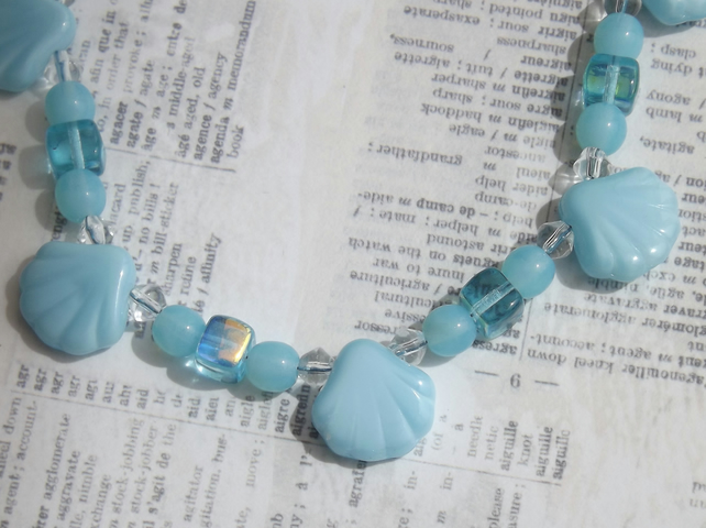 Blue Scallops, beaded necklace