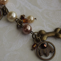 Little Dog, Vintage style charm bracelet, with faux pearls