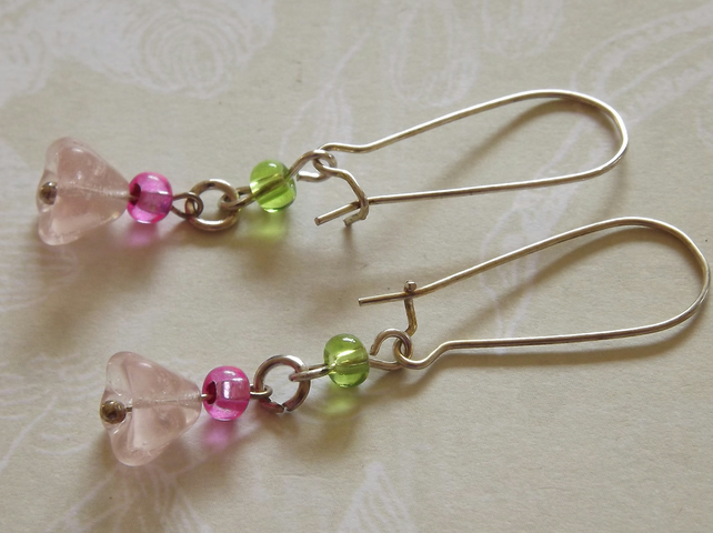Fuschia  Bell Flowers, dangle earrings