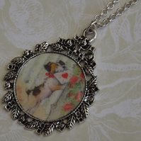 Puppy Valentine, silver pendant on bead embelished chain