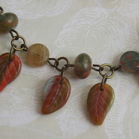 Autumn Leaves and Pebbles, necklace and earring set