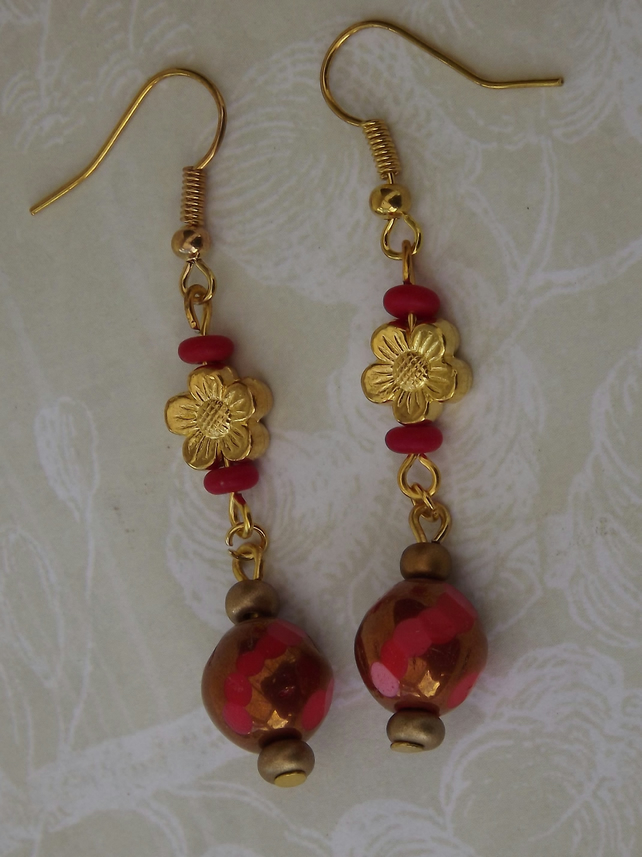 Cinnabar, earrings, beads and gold plated flowers dangling earrings