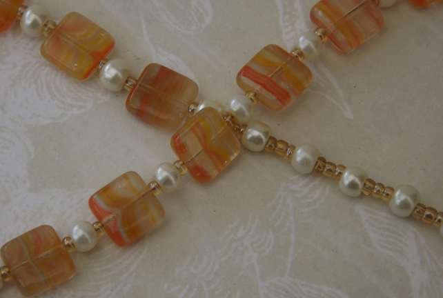 Peaches and Pearls, beaded necklace.