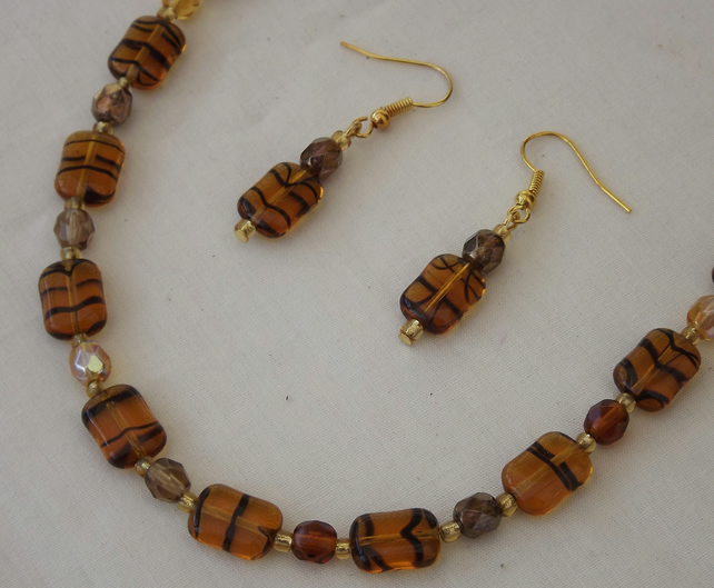 Topaz Tiger, glossy glass beads with subtle tiger stripe, beaded necklace