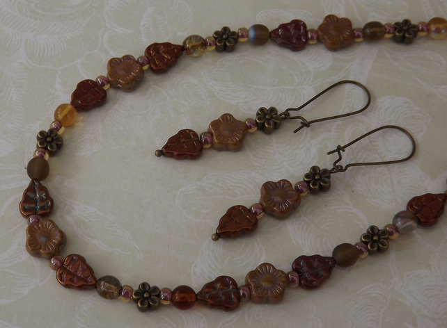 Autumn Flowers, necklace and earring set, autumnal colours. Leaves and flowers
