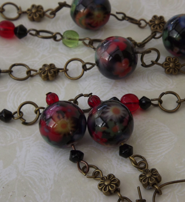 Flower Chain, floral handpainted beads, on a daisy chain.Necklace and Earrings