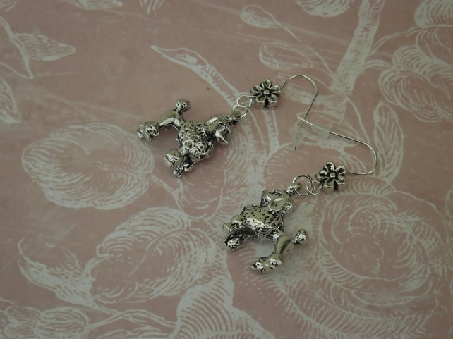 Silver Toy Poodle dangle earrings, cute and kitsch
