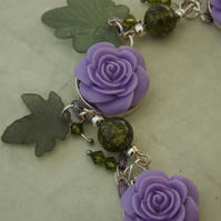 Lilac Rose statement necklace, glass beads and lucite leaves. Brides Maid