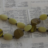 Coil, Korean Jade beads with Czech glass amonites, necklace
