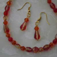 Tangerine Dream, sparkling glass beads, necklace and earring set