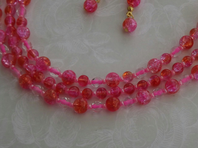 Electric Watermelon, glass beaded multi strand necklace and earring set
