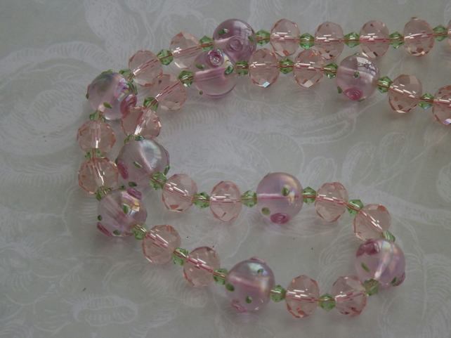 Rose Petal, glittering glass beads, lamp work beads necklace and earring set