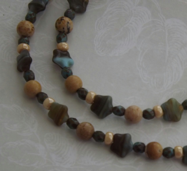 Meteor, glass star  and semi precious Jasper beaded necklace and earring set