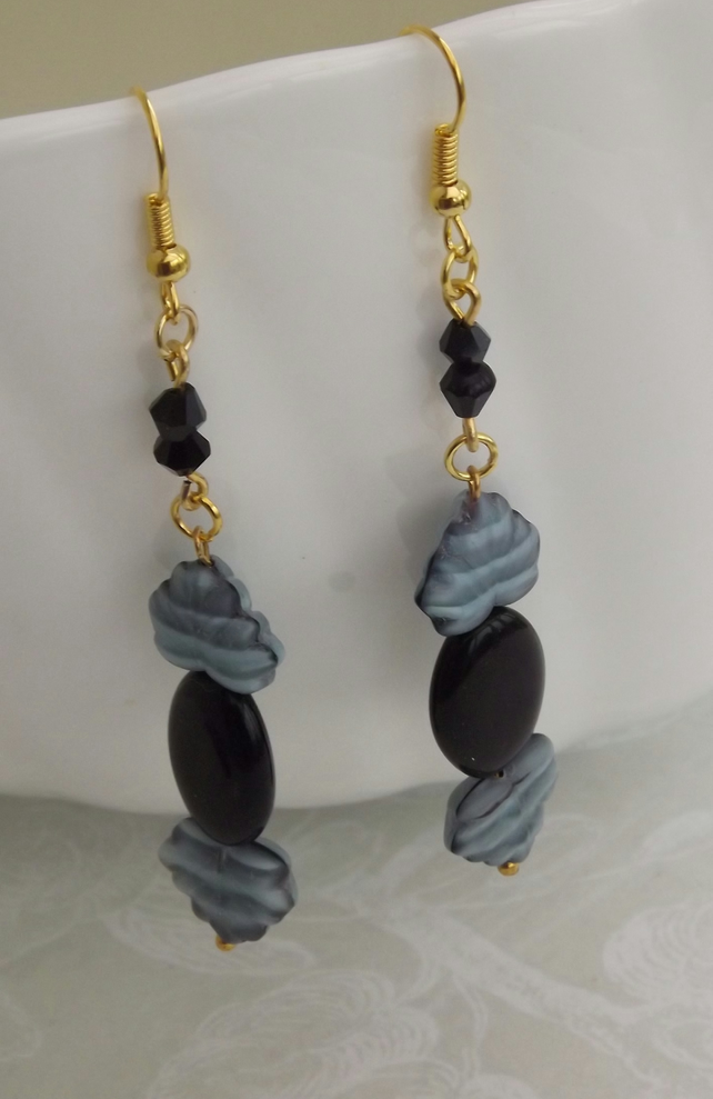 Baroque Black, glass beaded dangle earrings
