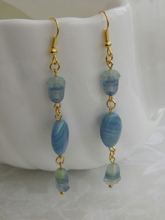 Soft Blue and Green, long dangle beaded earrings