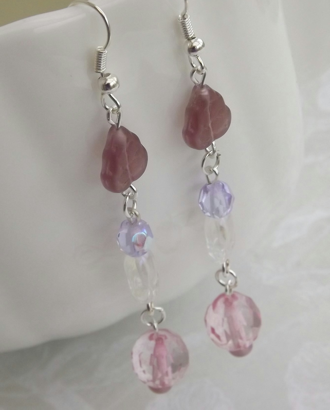 Pastel Flower, glass beaded earrings