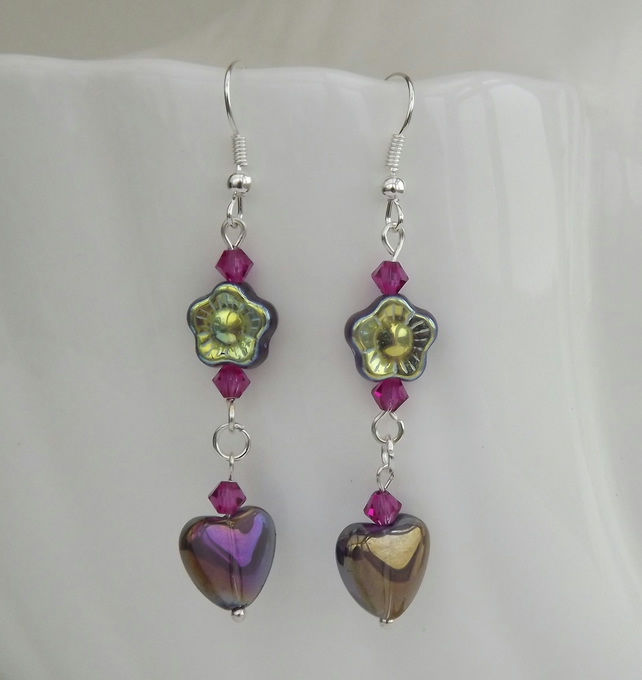 Violets and Valentine, glass beaded dangle earrings