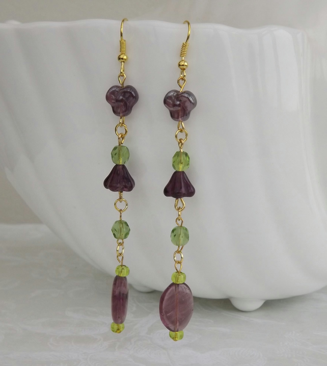 Purple Flower Chain, glass beaded dangle earrings