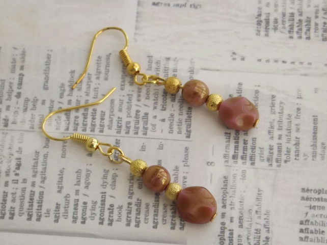 Dangle earrings, soft peach gold and copper tone beads