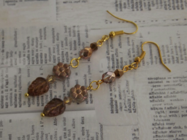 Autumn Lustre, beaded earrings bronze tones, glass flower and leaf