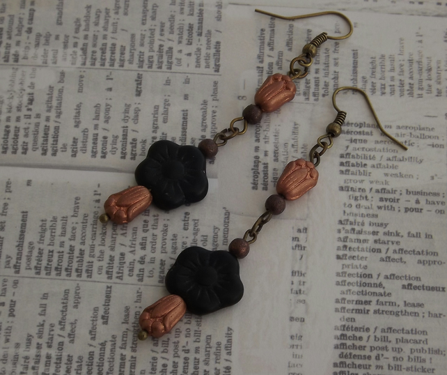 Black Buttercup and Tulip , vintage inspired earrings, glass flowers