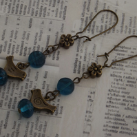 Blue Birds, bronze and glass beaded earrings