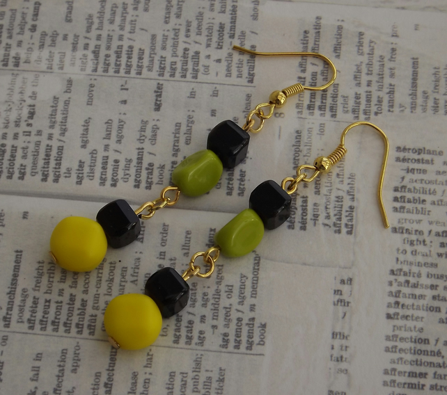 Mod,  glass beaded earrings