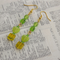 Citrus Heart, zingy lime green glass beaded earrings