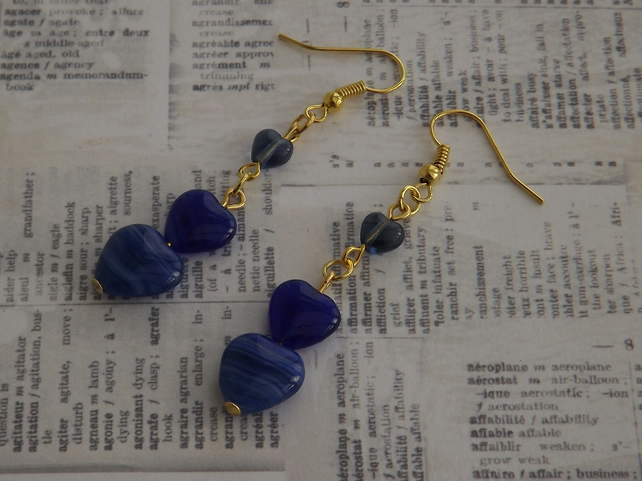 Denim Blue Heart, glass beaded earrings