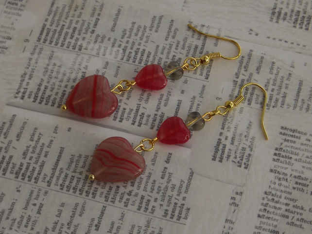 Smokey Red Heart earrings