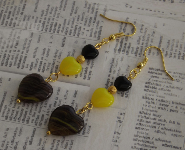 Black and Yellow Heart earrings