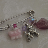 J'adore Poodles, kilt pin brooch silver poodle and glass beads