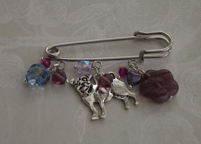 Pug, kilt pin brooch with silver dog charm and glass beads.