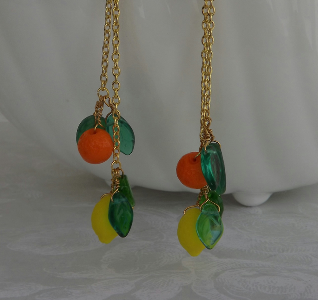 Citrus, glass fruit, dangle earrings