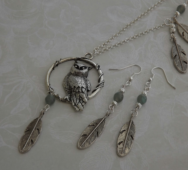 Owl and Feather metal pendant on part beaded chain, necklace and earring set.