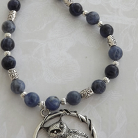 Wise Owl, sodalite semi precious stones  and silver beaded necklace and earring