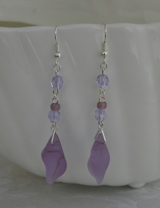 Lilac Whelk, sea glass and crystal bead earrings.