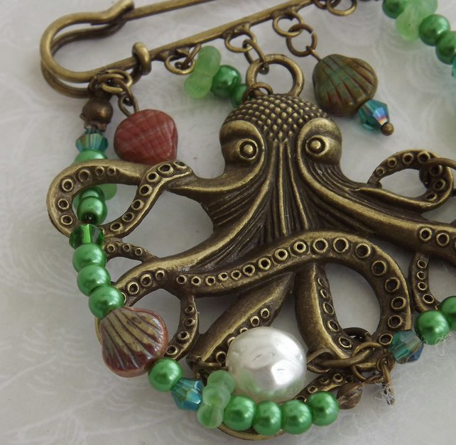 From the Deep, Octopus and seaweed beaded brooch