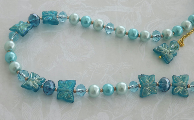 Butterfly Ball, glass pearls and beads , necklace and earring set