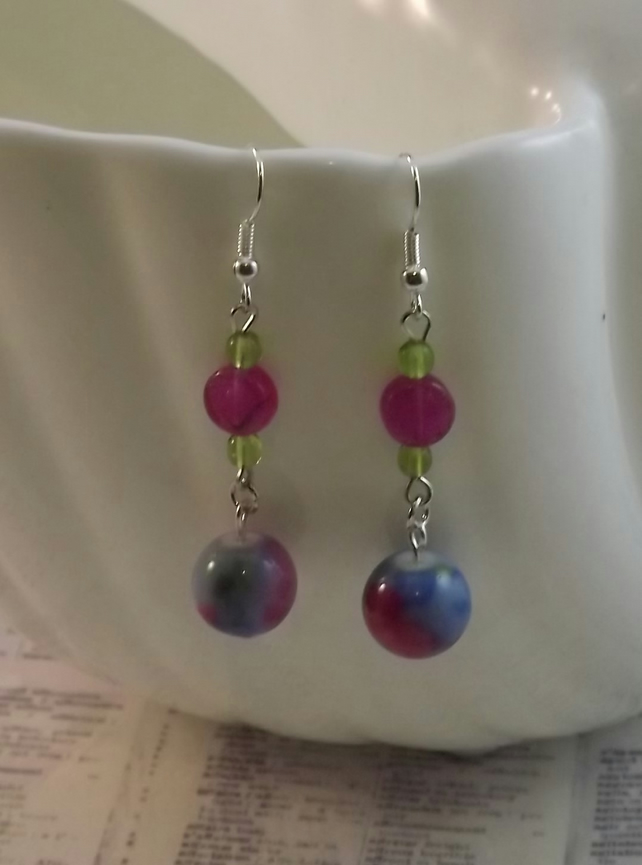 Painted Porcelain bead dangle earring. Pretty floral pattern. Pinks and Blues