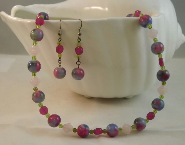 Chintz, beaded necklace and earring set, glass beads