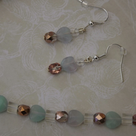 Misty Hearts, soft pastle coloured glass beads and hearts, necklace and earrings