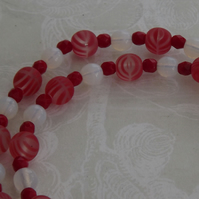 Strawberry Ripple, bead necklace and earring set