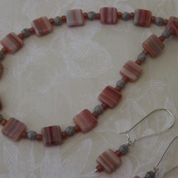 Savannah, Glass square beads in earth colours