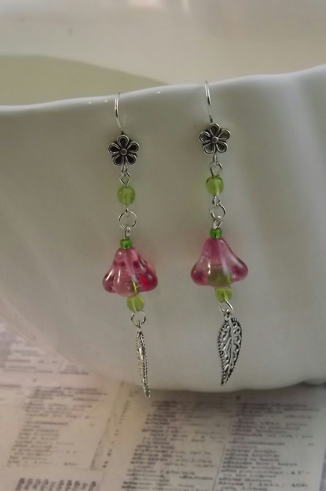 Fuschia Bell, pink  glass bell flower and silver leaves dangle earrings