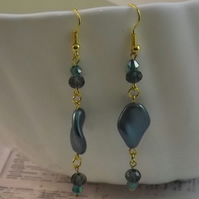 Sea Pearl Twist, glass pearl and beads dangle earrings